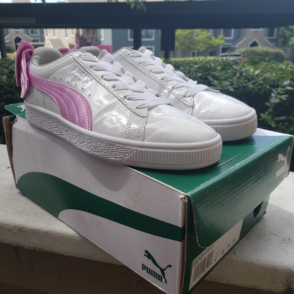 hot sale online 457ed cba6d Puma basket bow patent white orchid bow